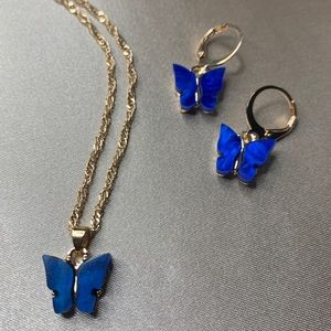 Jewelry - Blue butterfly necklace and earring set